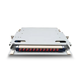 China 12 And 24 Core  Fiber Optic Distribution Box , 19'' 1U Rack Mount Optical Distribution Frame factory